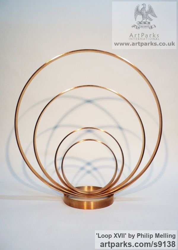Bronze Fabricated Metal Abstract sculpture by sculptor Philip Melling titled: 'Loop XVII (Concentric Circles Bronze abstract sculptures)' - Artwork View 2