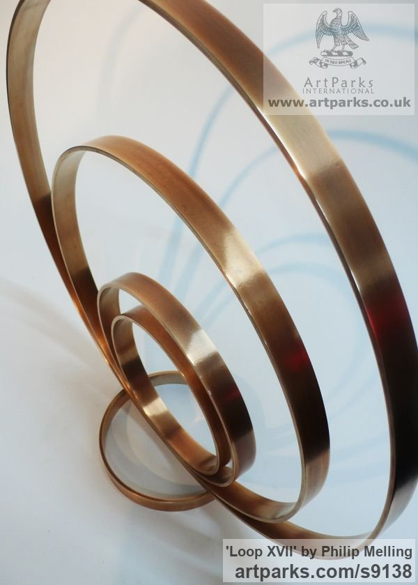 Bronze Fabricated Metal Abstract sculpture by sculptor Philip Melling titled: 'Loop XVII (Concentric Circles Bronze abstract sculptures)' - Artwork View 3