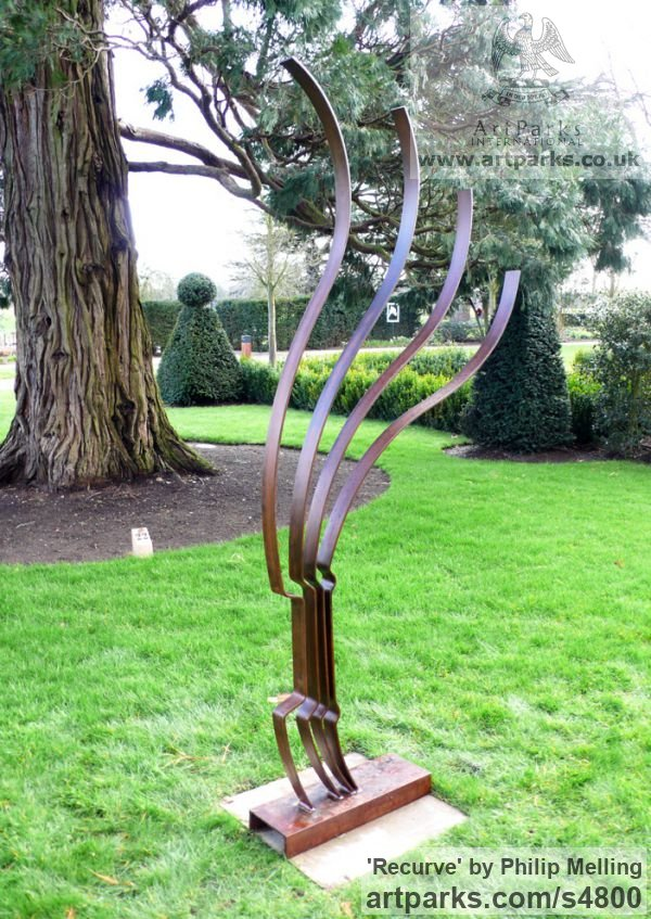 Steel Garden Or Yard / Outside and Outdoor sculpture by sculptor Philip Melling titled: 'Recurve (Modern abstract Metal garden statue)' - Artwork View 1
