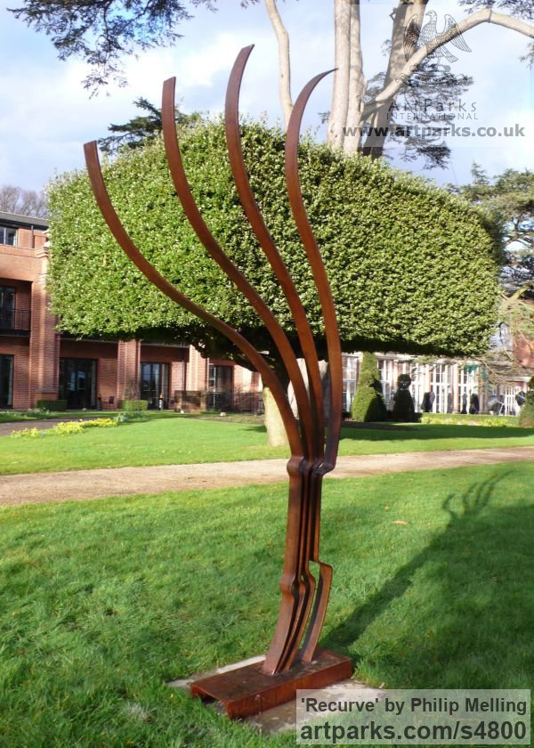 Steel Garden Or Yard / Outside and Outdoor sculpture by sculptor Philip Melling titled: 'Recurve (Modern abstract Metal garden statue)' - Artwork View 2