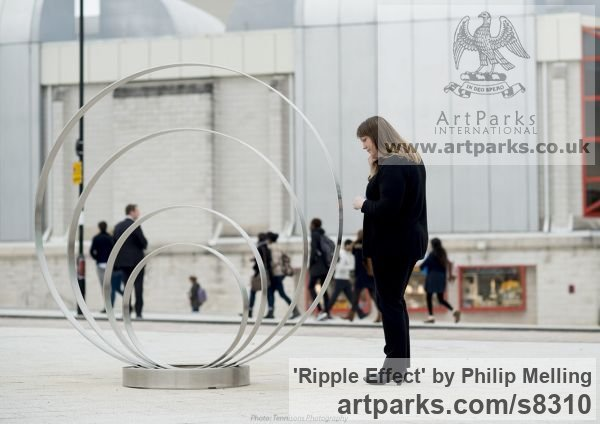 Stainless Steel Fabricated Metal Abstract sculpture by sculptor Philip Melling titled: 'Ripple Effect (Engraved stainless Steel Circles Public Art sculpture)' - Artwork View 2