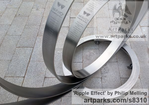 Stainless Steel Fabricated Metal Abstract sculpture by sculptor Philip Melling titled: 'Ripple Effect (Engraved stainless Steel Circles Public Art sculpture)' - Artwork View 3