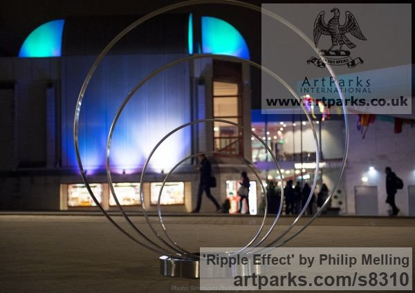 Stainless Steel Fabricated Metal Abstract sculpture by sculptor Philip Melling titled: 'Ripple Effect (Engraved stainless Steel Circles Public Art sculpture)' - Artwork View 5