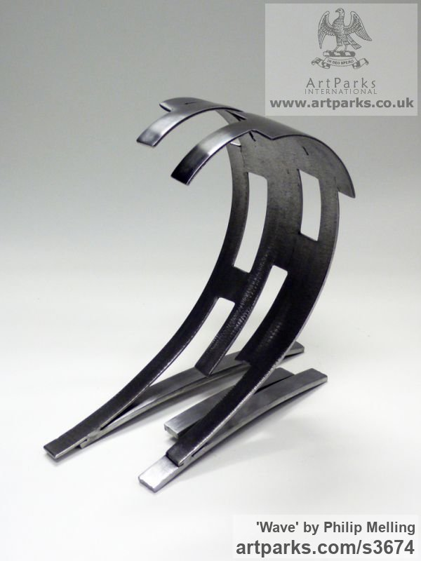 Steel Repetitive Form / Shape Abstract Sculptures / sculpture by sculptor Philip Melling titled: 'Wave (Modern abstract sculpture Steel Little Indoor statue/statuette)'