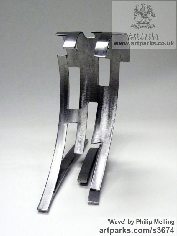 Steel Repetitive Form / Shape Abstract Sculptures / sculpture by sculptor Philip Melling titled: 'Wave (Modern abstract sculpture Steel Little Indoor statue/statuette)' - Artwork View 2