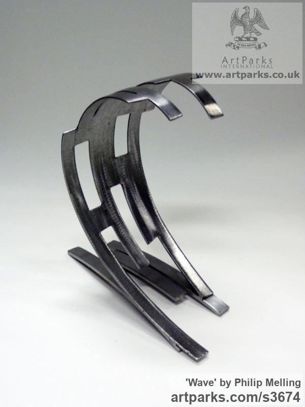 Steel Repetitive Form / Shape Abstract Sculptures / sculpture by sculptor Philip Melling titled: 'Wave (Modern abstract sculpture Steel Little Indoor statue/statuette)' - Artwork View 3