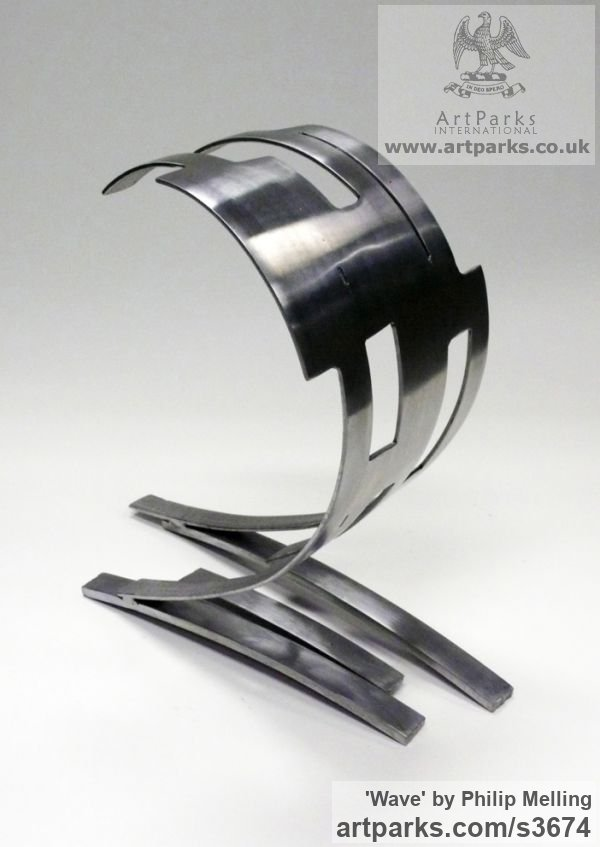 Steel Repetitive Form / Shape Abstract Sculptures / sculpture by sculptor Philip Melling titled: 'Wave (Modern abstract sculpture Steel Little Indoor statue/statuette)' - Artwork View 5