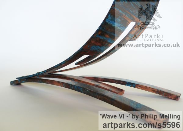 Copper Plated Steel Small / Little Abstract Contemporary Sculptures / sculpture by sculptor Philip Melling titled: 'Wave VI - (Contemporary abstract Wave Copper statuette sculpture)' - Artwork View 4