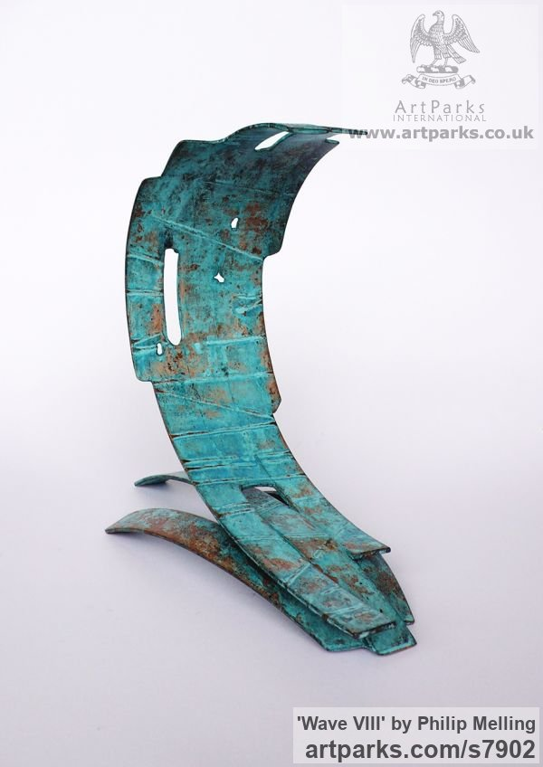 Copper Focal Point Abstract Contemporary Modern sculpture sculpture by sculptor Philip Melling titled: 'Wave VIII (Modern Patinated Copper sculpture)' - Artwork View 1