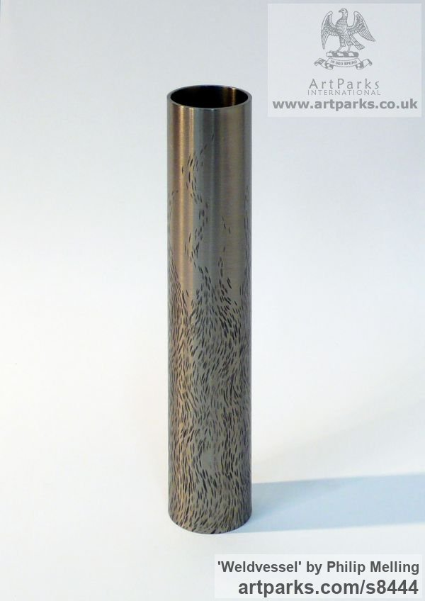 Stainless Steel Tabletop Desktop Small Indoor Statuettes Figurines sculpture by sculptor Philip Melling titled: 'Weldvessel (Flame Cut) - Metal Vase' - Artwork View 2