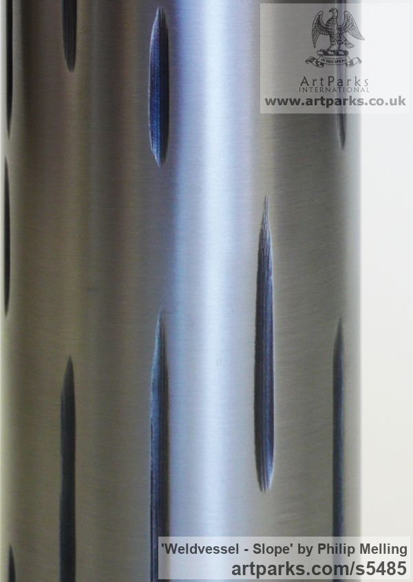 Steel & Resin Interior, Indoors, Inside sculpture by sculptor Philip Melling titled: 'Weldvessel - Slope (Contemporary Metal Vase) [1154]' - Artwork View 2
