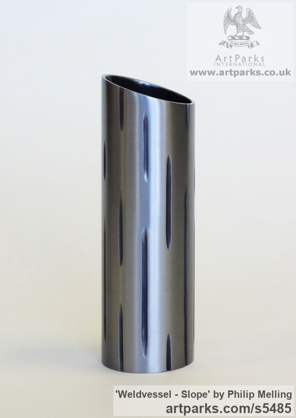 Steel & Resin Interior, Indoors, Inside sculpture by sculptor Philip Melling titled: 'Weldvessel - Slope (Contemporary Metal Vase) [1154]' - Artwork View 3