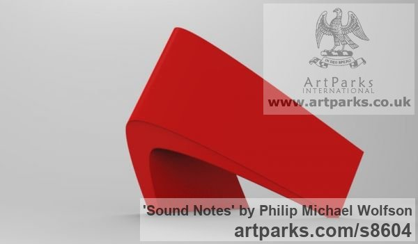 Steel Abstract Contemporary or Modern Outdoor Outside Exterior Garden / Yard sculpture statuary sculpture by sculptor Philip Michael Wolfson titled: 'Sound Notes (Red Modern Angular abstract statue)' - Artwork View 2