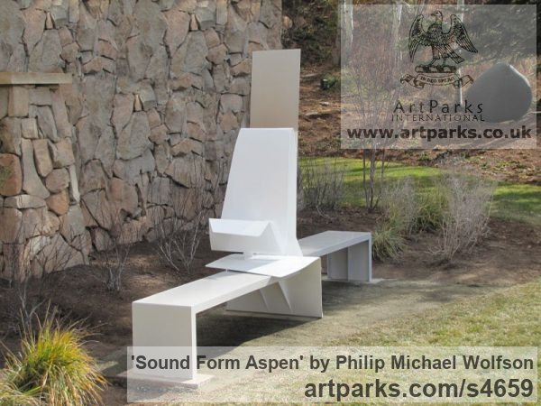 Aluminium & sprung steel vertical panel Abstract Contemporary or Modern Outdoor Outside Exterior Garden / Yard sculpture statuary sculpture by sculptor Philip Michael Wolfson titled: 'Sound Form Aspen (Contemporary abstract Modern Metal sculpture/statue)'