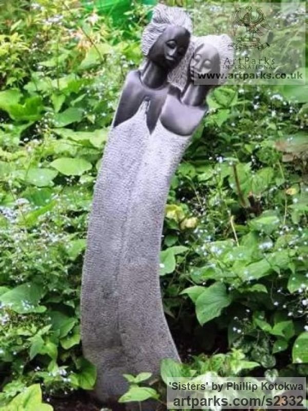 Springstone Garden Or Yard / Outside and Outdoor sculpture by sculptor Phillip Kotokwa titled: 'Sisters (Carved stone Modern Stylised Women statues)'