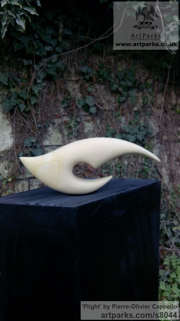 Abstract Contemporary Modern Outdoor Outside Garden / Yard sculpture statuary sculpture by sculptor Pierre-Olivier Cappello titled: 'Flight (Contemporary abstract stone sculpture)' - Artwork View 2