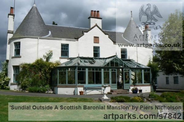 Stainless Steel Garden Or Yard / Outside and Outdoor sculpture by sculptor Piers Nicholson titled: 'Sundial outside a Scottish Baronial Mansion'