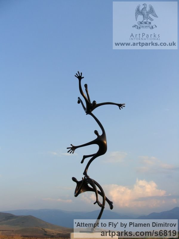 Bronze Garden Or Yard / Outside and Outdoor sculpture by sculptor Plamen Dimitrov titled: 'Attempt to fly (bronze garden Falling Figure statue)'
