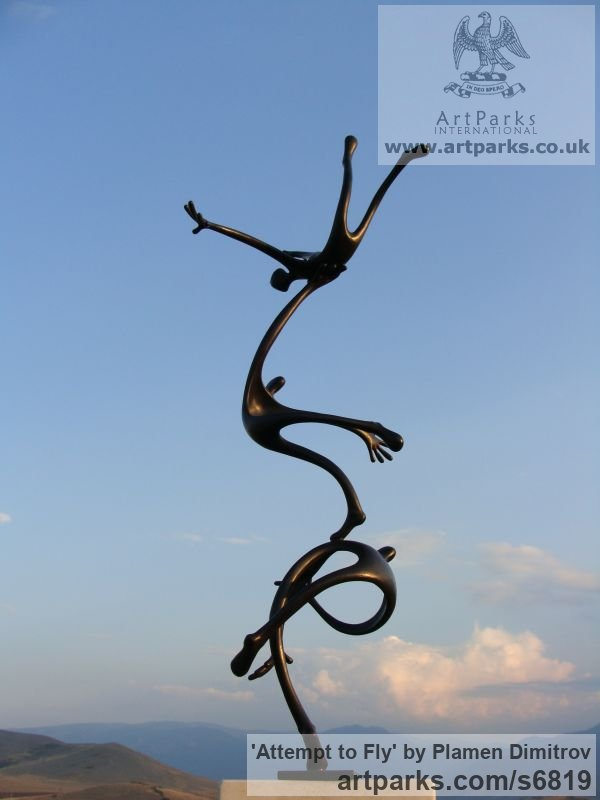 Bronze Garden Or Yard / Outside and Outdoor sculpture by sculptor Plamen Dimitrov titled: 'Attempt to fly (bronze garden Falling Figure statue)' - Artwork View 2