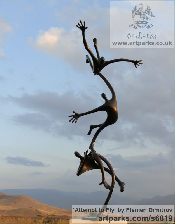 Bronze Garden Or Yard / Outside and Outdoor sculpture by sculptor Plamen Dimitrov titled: 'Attempt to fly (bronze garden Falling Figure statue)' - Artwork View 3