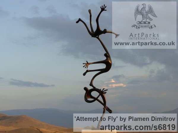 Bronze Garden Or Yard / Outside and Outdoor sculpture by sculptor Plamen Dimitrov titled: 'Attempt to fly (bronze garden Falling Figure statue)' - Artwork View 4