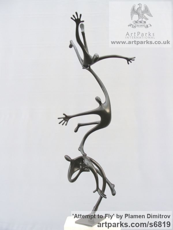 Bronze Garden Or Yard / Outside and Outdoor sculpture by sculptor Plamen Dimitrov titled: 'Attempt to fly (bronze garden Falling Figure statue)' - Artwork View 5