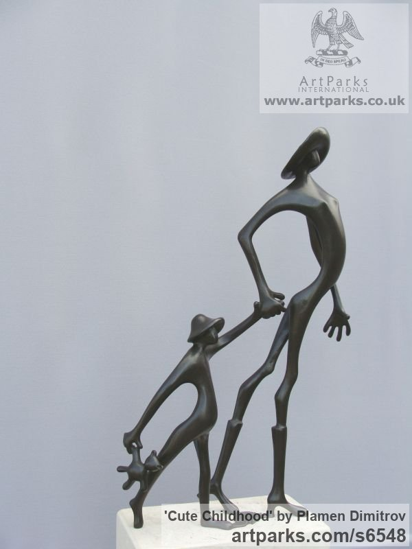Bronze Parent - Child sculpture by sculptor Plamen Dimitrov titled: 'Cute Childhood (bronze abstract Proud Mum/Happy Child statue/sculpture)'