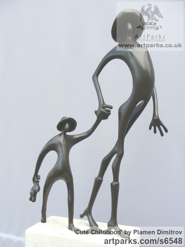 Bronze Parent - Child sculpture by sculptor Plamen Dimitrov titled: 'Cute Childhood (bronze abstract Proud Mum/Happy Child statue/sculpture)' - Artwork View 2