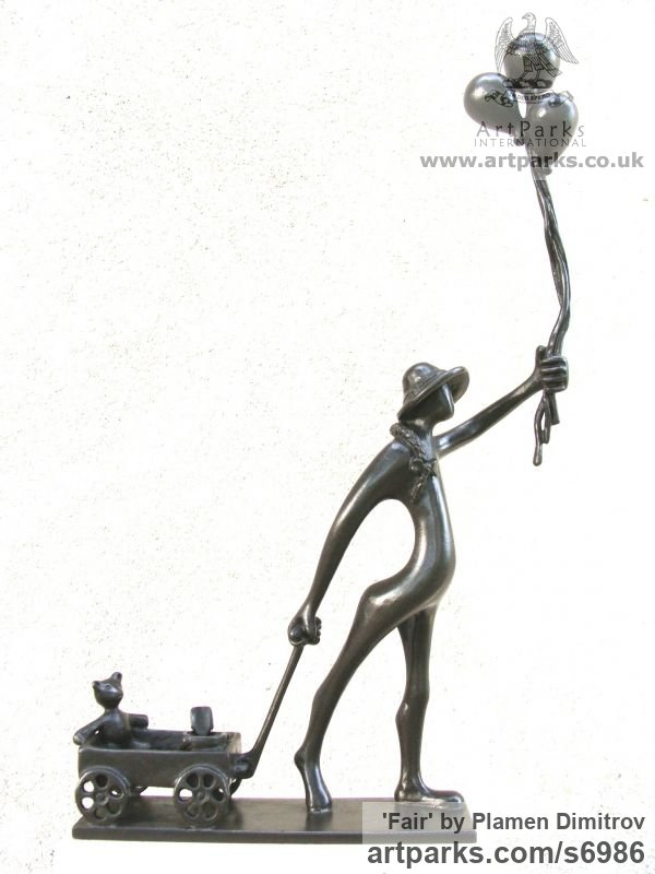 Bronze Children Child Babies Infants Toddlers Kids sculpture statuettes figurines sculpture by sculptor Plamen Dimitrov titled: 'Fair (Happy Child and Balloons and Cart and Toys statuette sculpture)'