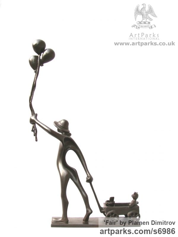Bronze Children Child Babies Infants Toddlers Kids sculpture statuettes figurines sculpture by sculptor Plamen Dimitrov titled: 'Fair (Happy Child and Balloons and Cart and Toys statuette sculpture)' - Artwork View 2