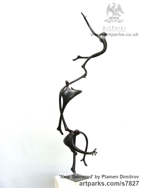 Bronze Garden Or Yard / Outside and Outdoor sculpture by sculptor Plamen Dimitrov titled: 'New Sidewind (abstract Caricature Amusing sculpture)' - Artwork View 3