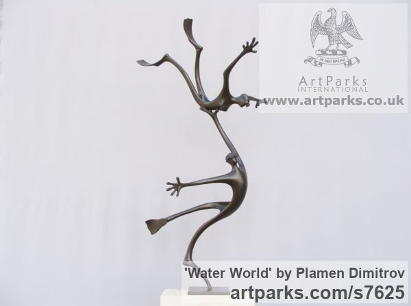 Bronze Garden Or Yard / Outside and Outdoor sculpture by sculptor Plamen Dimitrov titled: 'Water World (abstract Skindivers Flippers satatue)' - Artwork View 2