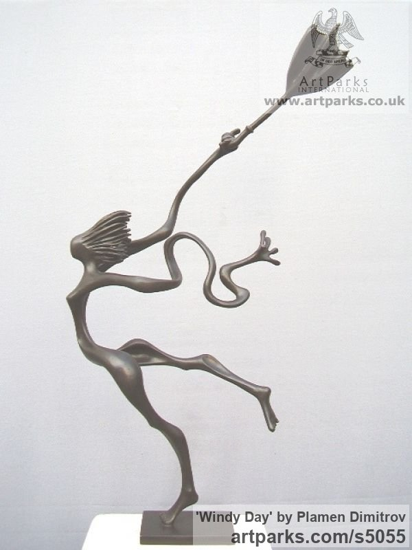 Bronze Garden Or Yard / Outside and Outdoor sculpture by sculptor Plamen Dimitrov titled: 'Windy day (Small Woman in wind sculpture)' - Artwork View 2