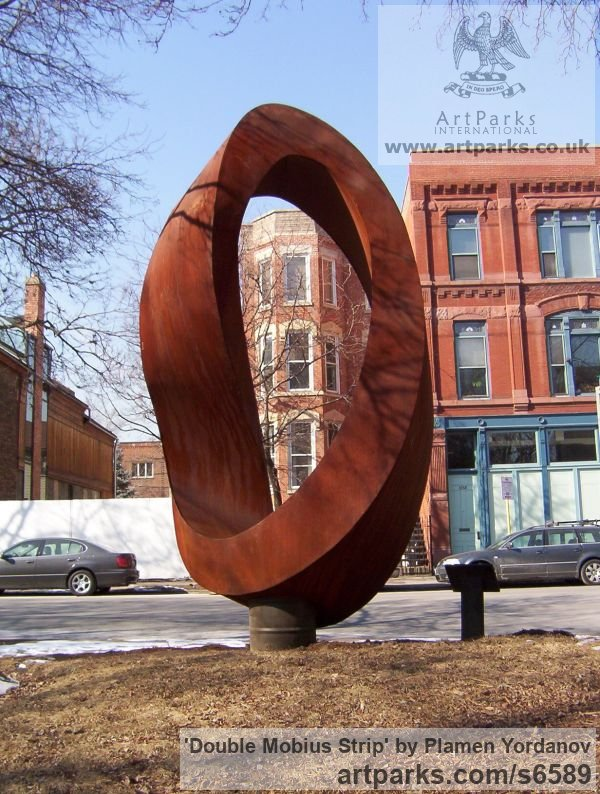 Corten steel Abstract Contemporary or Modern Outdoor Outside Exterior Garden / Yard sculpture statuary sculpture by sculptor Plamen Yordanov titled: 'Double Mobius Strip (brown Massive Steel Contemporary abstract statue)'
