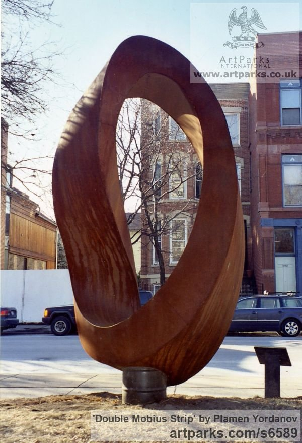 Corten steel Abstract Contemporary or Modern Outdoor Outside Exterior Garden / Yard sculpture statuary sculpture by sculptor Plamen Yordanov titled: 'Double Mobius Strip (brown Massive Steel Contemporary abstract statue)' - Artwork View 2