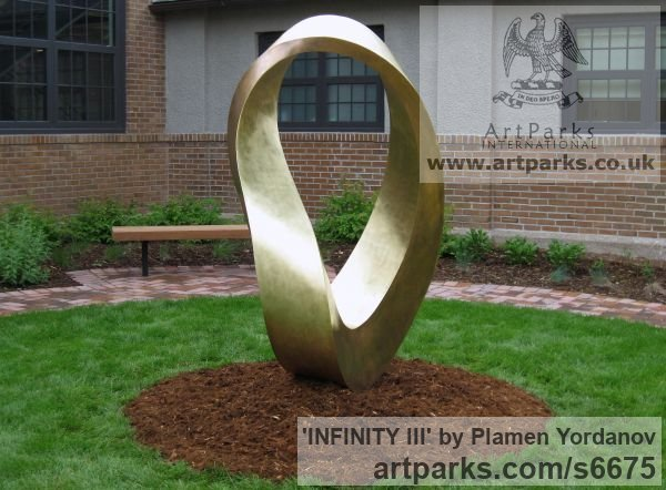 Bronze Abstract Contemporary or Modern Outdoor Outside Exterior Garden / Yard sculpture statuary sculpture by sculptor Plamen Yordanov titled: 'INFINITY Commission (Big bronze Double Mobius Strip Outdoor statue)'
