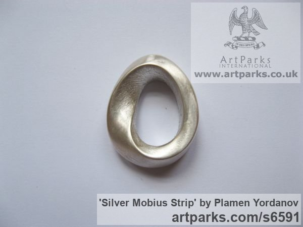 Cast silver Sculptural Jewellery sculpture by sculptor Plamen Yordanov titled: 'Silver Mobius Strip (Small Finger Ring Endless Curve Jewellery)'