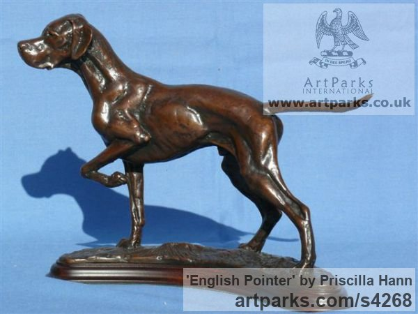 Bronze Dogs sculpture by sculptor Priscilla Hann titled: 'English Pointer (Little Table Top Hound Bronze standing Dog statuette)'