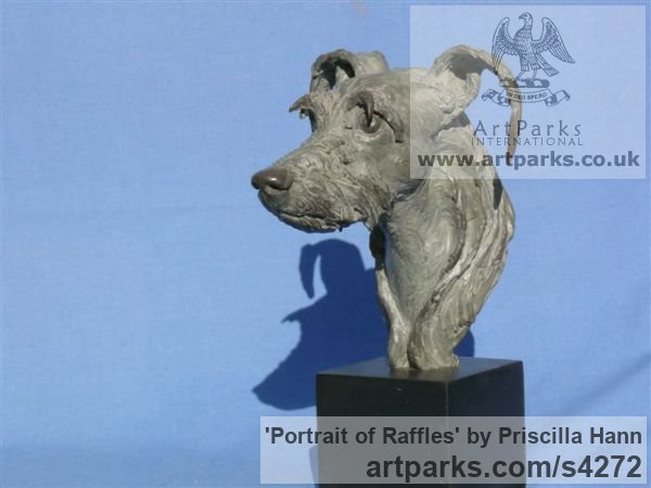 Bronze on slate Dogs sculpture by sculptor Priscilla Hann titled: 'Portrait of Raffles (Bronze Commission Pet Dog statue)'