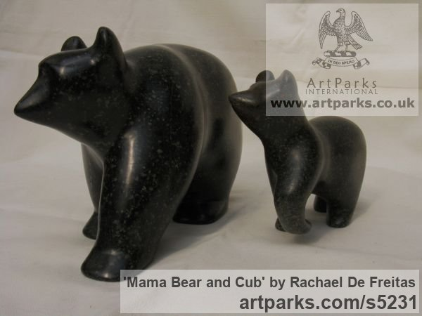 POLYPHANT STONE Wild Animals and Wild Life sculpture by sculptor Rachael De Freitas titled: 'Mama Bear and Cub (Little Carved stone statuette/statue/sculpture)'