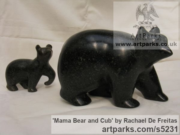POLYPHANT STONE Wild Animals and Wild Life sculpture by sculptor Rachael De Freitas titled: 'Mama Bear and Cub (Little Carved stone statuette/statue/sculpture)' - Artwork View 2