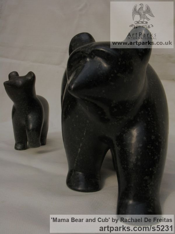 POLYPHANT STONE Wild Animals and Wild Life sculpture by sculptor Rachael De Freitas titled: 'Mama Bear and Cub (Little Carved stone statuette/statue/sculpture)' - Artwork View 3