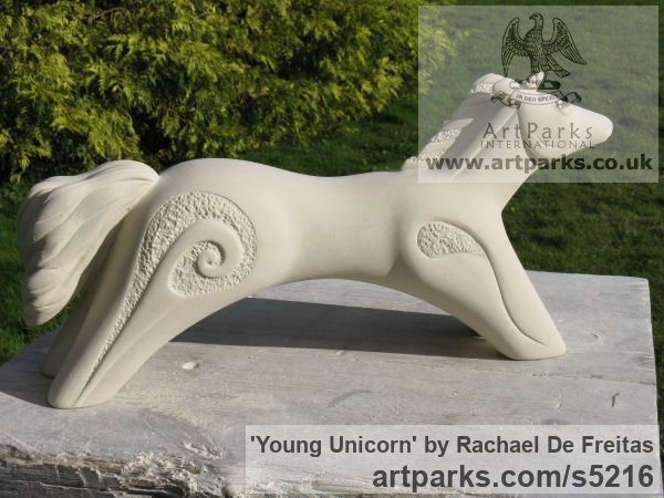 Caen stone (limestone) Garden Or Yard / Outside and Outdoor sculpture by sculptor Rachael De Freitas titled: 'Young Unicorn (Semi abstract Naive stone statue)'
