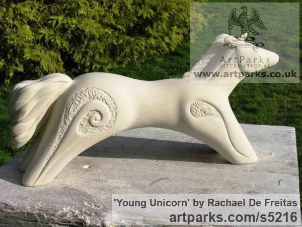 Caen stone (limestone) Garden Or Yard / Outside and Outdoor sculpture by sculptor Rachael De Freitas titled: 'Young Unicorn (Semi abstract Naive stone statue)' - Artwork View 2