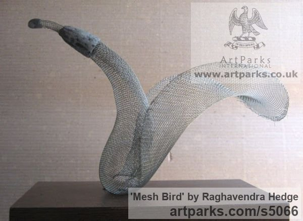 Wire mesh Varietal Mix of Bird Sculptures or sculpture by sculptor Raghavendra Hedge titled: 'Mesh Bird (Wire Delicate Translucent sculptures)'