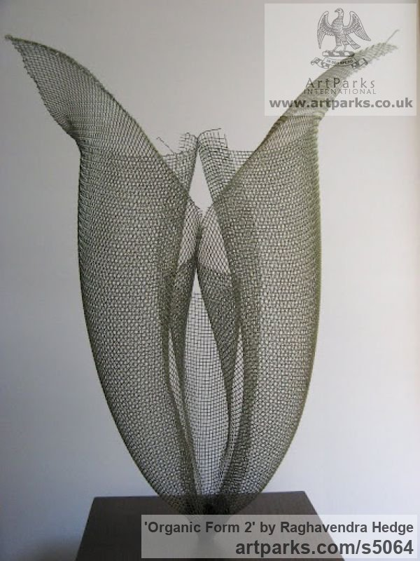 Wire mesh Abstract Plants Fruits Trees Leaves Flowers sculpture by sculptor Raghavendra Hedge titled: 'Organic form 2 (abstract Modern Mesh Orchid Flower statues)'