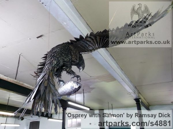 Welded mild steel Varietal Mix of Bird Sculptures or sculpture by sculptor Ramsay Dick titled: 'Osprey with Salmon (Steel Raptor Predator life size garden/Yard statue)'