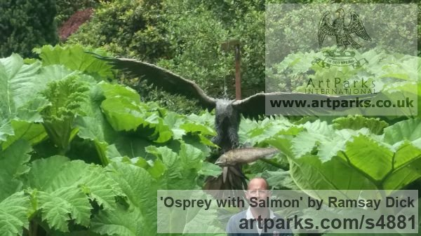 Welded mild steel Varietal Mix of Bird Sculptures or sculpture by sculptor Ramsay Dick titled: 'Osprey with Salmon (Steel Raptor Predator life size garden/Yard statue)' - Artwork View 3