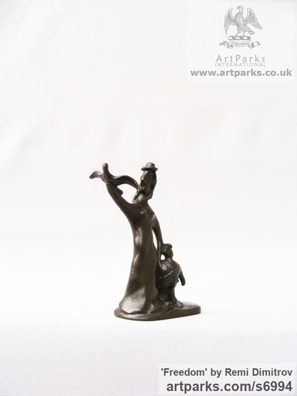 Bronze Animals and Humans Sculptures, Statues and Statuettes sculpture by sculptor Remi Dimitrov titled: 'Freedom (Little Mother and Child Wild Bird statues)' - Artwork View 2