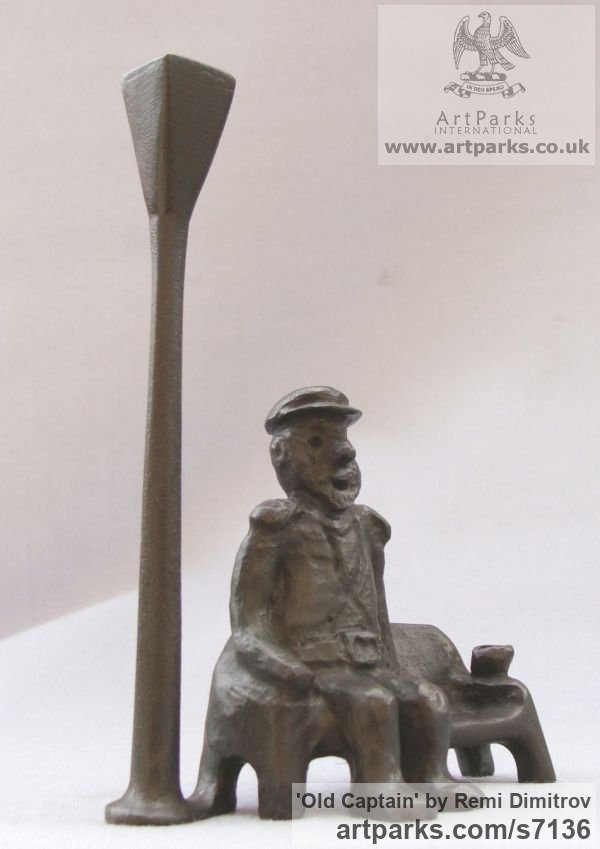 Bronze Male Men Youths Masculine sculpturettes figurines sculpture by sculptor Remi Dimitrov titled: 'Old captain (Seated Old Man and Lamp sculpture)'